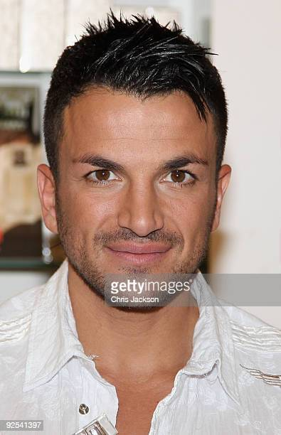 Singer Peter Andre launches his women's fragrance 'Unconditional' at the perfume shop Oxford Street on October 30 2009 in London England