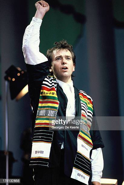 Singer Peter Gabriel performs at the 'Human Rights Now' concert in aid of Amnesty International held at Wembley Stadium on September 2 1988 in London...