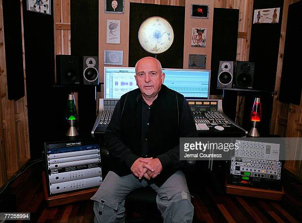 Singer Peter Gabriel unveils The Shed personal music studio at the 123rd Audio Engineering Convention on October 5 2007 at the Jacob Javits Center in...