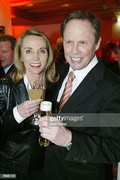 Singer Peter Kraus and his wife Ingrid attend the Audi Evening at Hotel Tenne at the Hahnenkamm Ski Races on January 23 2004 in Kitzbuehel Austria