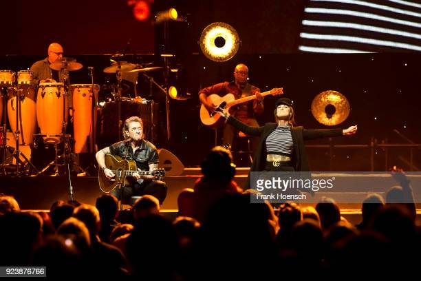 Singer Peter Maffay and Jennifer Weist perform live on stage during a concert at the MercedesBenz Arena on February 24 2018 in Berlin Germany