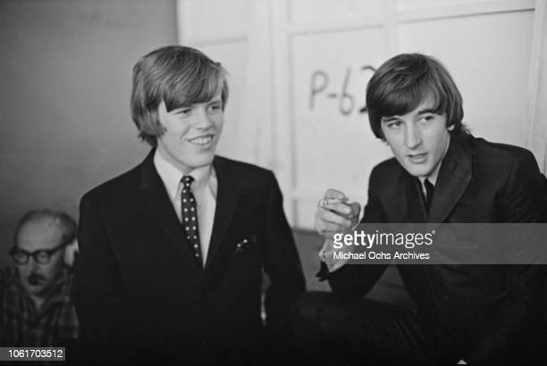 Singer Peter Noone and guitarist Keith Hopwood of British pop group Herman's Hermits while appearing on 'Hullabaloo' at NBC's Studio 8H in New York...