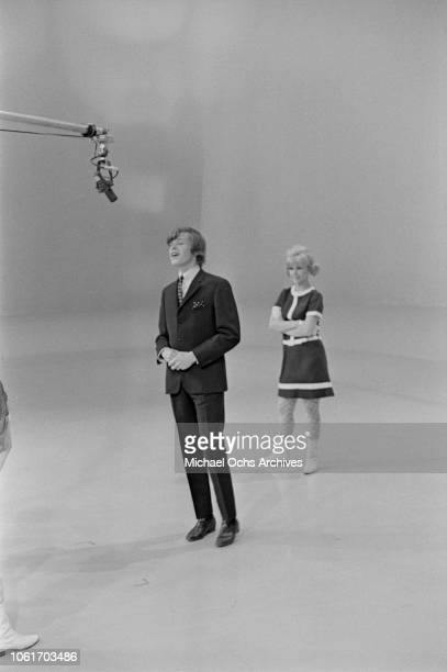 Singer Peter Noone of British pop group Herman's Hermits while appearing on 'Hullabaloo' at NBC's Studio 8H in New York City 9th February 1965