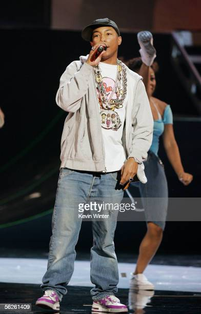 Singer Pharrell performs onstage during the 2005 American Music Awards held at the Shrine Auditorium on November 22 2005 in Los Angeles California