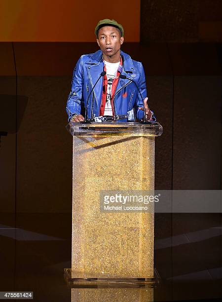 Singer Pharrell Williams accepts the Fashion Icon Award onstage at the 2015 CFDA Fashion Awards at Alice Tully Hall at Lincoln Center on June 1 2015...