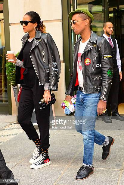 Singer Pharrell Williams and wife Helen Lasichan are seen walking in Soho on June 3 2015 in New York City