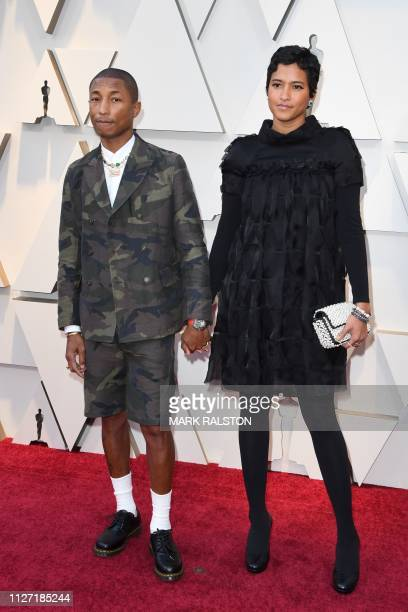 US Singer Pharrell Williams and wife Helen Lasichanh arrive for the 91st Annual Academy Awards at the Dolby Theatre in Hollywood California on...