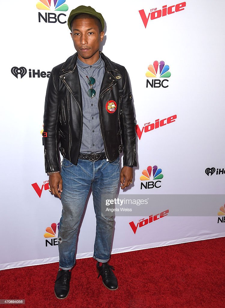 Singer Pharrell Williams arrives at NBC's 'The Voice' Season 8 red carpet event at Pacific Design Center on April 23, 2015 in West Hollywood, California.
