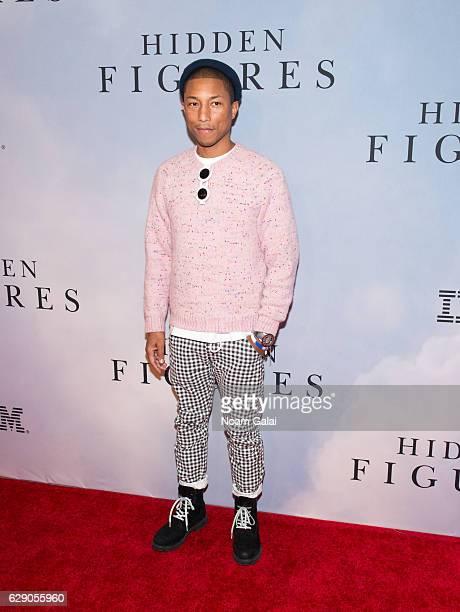 "Singer Pharrell Williams attends the ""Hidden Figures"" New York special screening on December 10, 2016 in New York City."