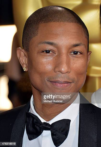 Singer Pharrell Williams attends the Oscars held at Hollywood Highland Center on March 2 2014 in Hollywood California