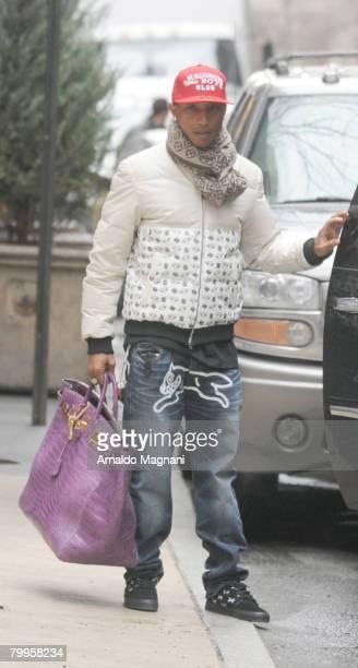 Singer Pharrell Williams leaves his hotel February 23 2007 in New York City