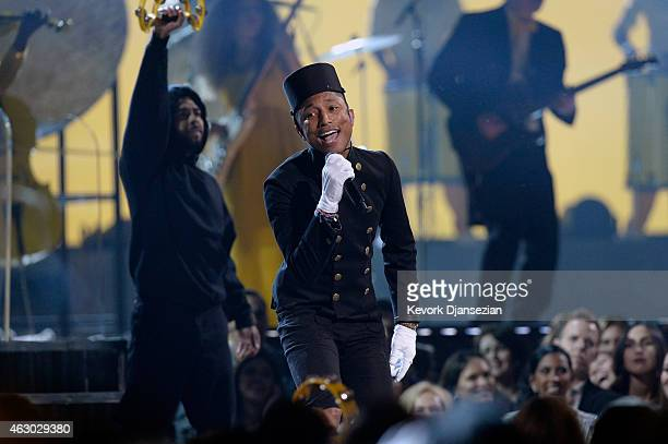 Singer Pharrell Williams performs 'Happy' onstage during The 57th Annual GRAMMY Awards at the at the STAPLES Center on February 8 2015 in Los Angeles...