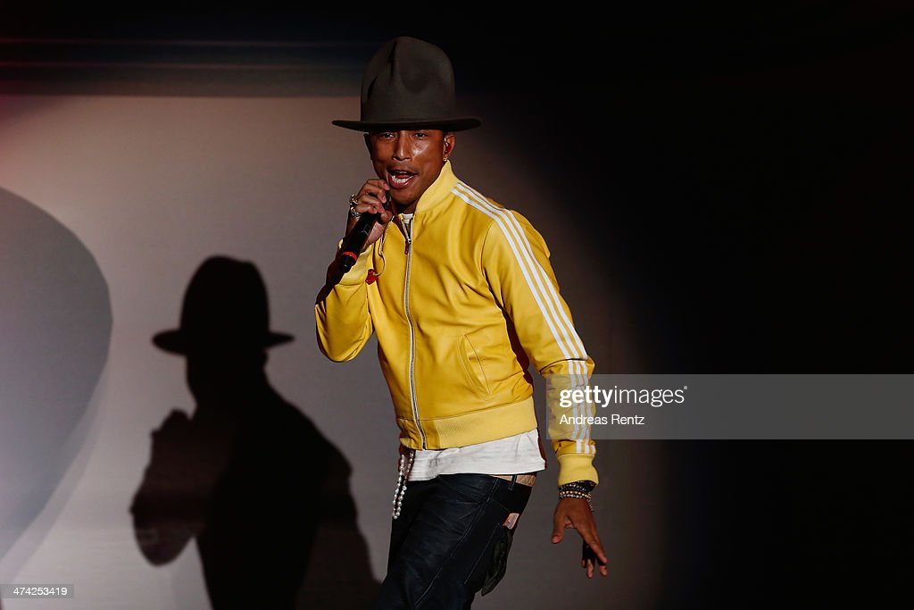 Singer Pharrell Williams performs on stage during the 'Wetten, dass..?' TV Show from Dusseldorf at the ISS Dome on February 22, 2014 in Duesseldorf, Germany..