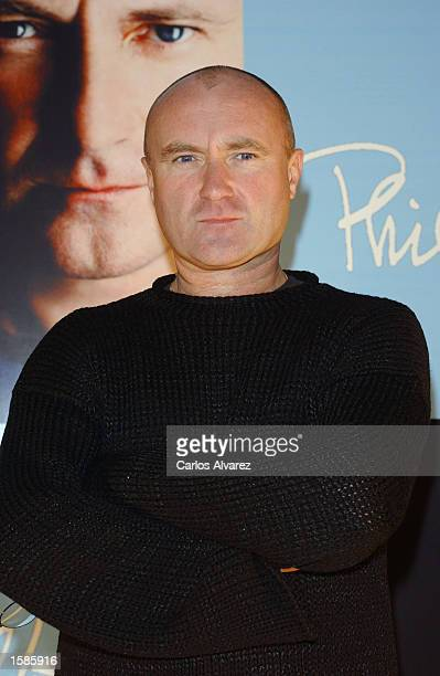 Singer Phil Collins attends the promotion for his new album 'Testify' November 4 2002 at Villamagna Hotel in Madrid Spain