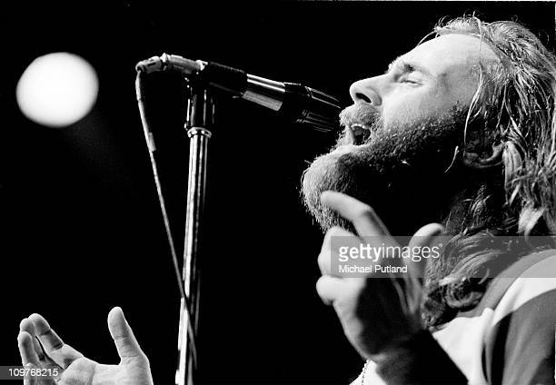 Singer Phil Collins of Genesis performing on stage in New York City in 1977