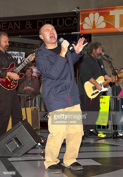 Singer Phil Collins performs on the 'Today Show' November 15 2002 in New York City