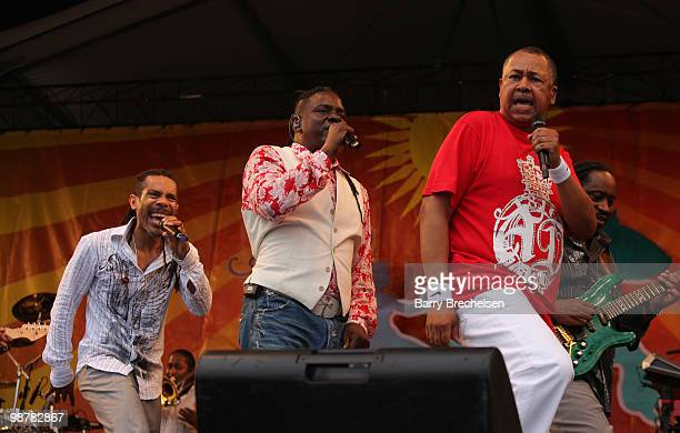 Singer Philip Bailey and musician Ralph Johnson of Earth Wind and Fire perform during day 5 of the 41st Annual New Orleans Jazz Heritage Festival at...