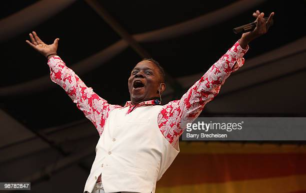 Singer Philip Bailey of Earth Wind Fire performs during day 5 of the 41st Annual New Orleans Jazz Heritage Festival at the Fair Grounds Race Course...