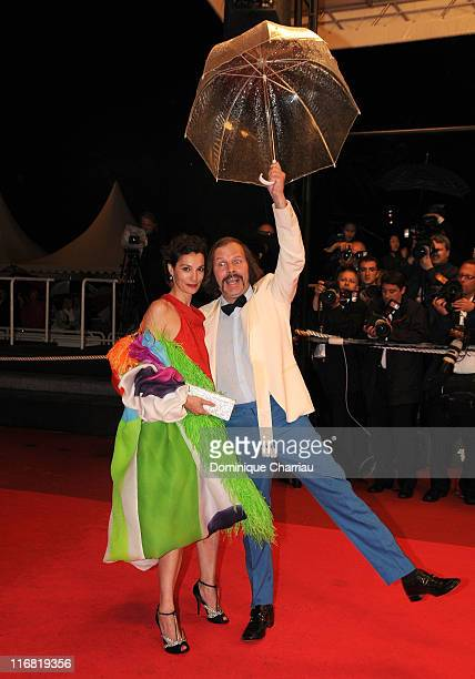 Singer Philippe Katerine and Jeanne Balibar attend the Linha de Passe premiere at the Palais des Festivals during the 61st Cannes International Film...