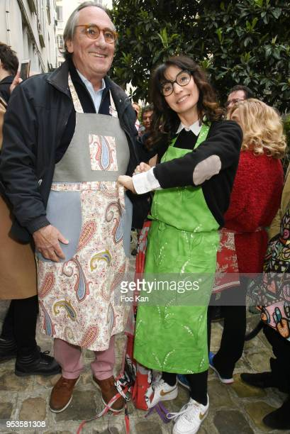 Singer Philippe Lavil and designer Zelia Van den Bulke attend Zelia Van Den Bulke Aprons Show At Zelia Abbesses Shop on May 1, 2018 in Paris, France.