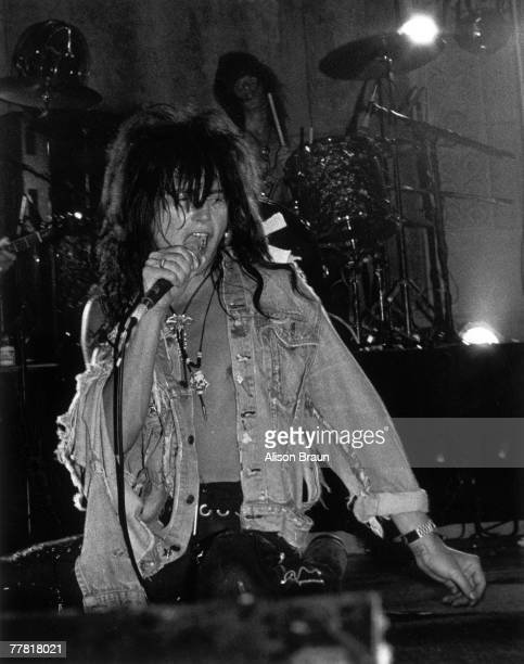 Singer Phillip Lewis of the hardrock group LA Guns performs onstage at Club Scream in July 1987 in Los Angeles California