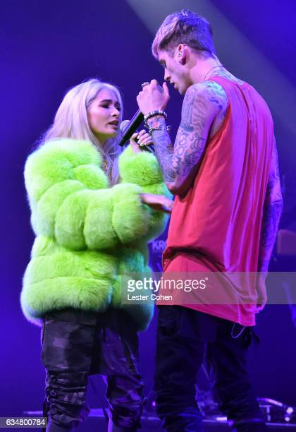 Singer Pia Mia and rapper/actor Machine Gun Kelly perform onstage at the Sir Lucian Grainge's 2017 Artist Showcase presented by American Airlines and...