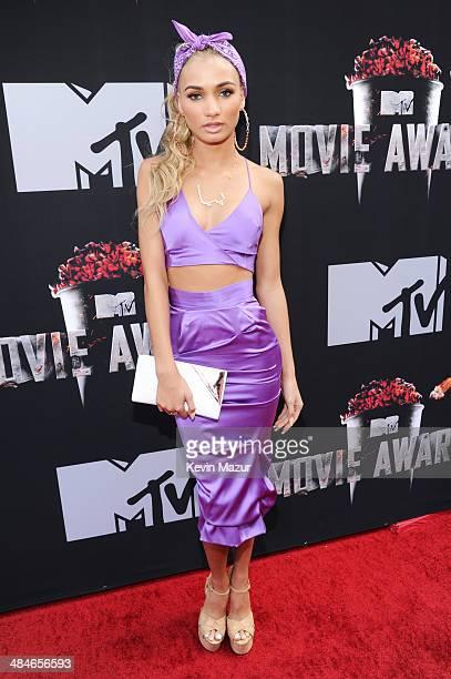 Singer Pia Mia attends the 2014 MTV Movie Awards at Nokia Theatre LA Live on April 13 2014 in Los Angeles California