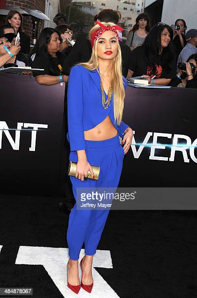 Singer Pia Mia Perez arrives at the Los Angeles premiere of 'Divergent' at Regency Bruin Theatre on March 18 2014 in Los Angeles California