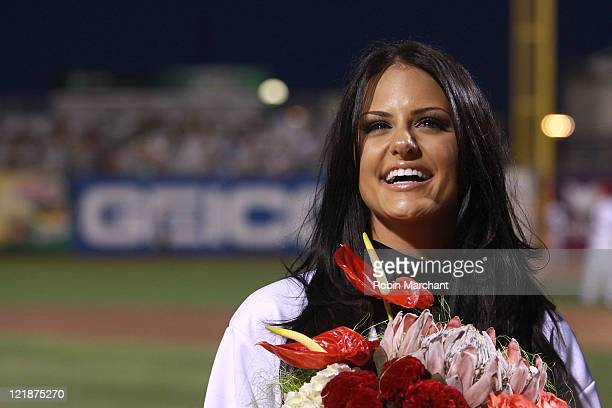Singer Pia Toscano attends the Brooklyn Cyclones vs. The Tri-City Valley Cats of Troy game at MCU Park on August 22, 2011 in New York City.