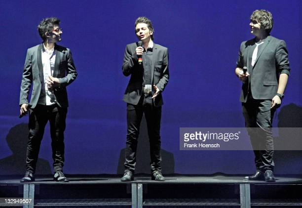 Singer Piero Barone Gianluca Ginoble and Ignazio Boschetto of Il Volo performs live during a concert at the Tempodrom on November 15 2011 in Berlin...