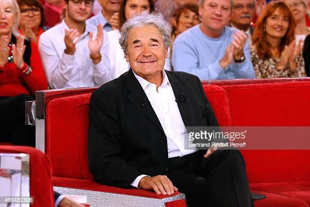 """Singer Pierre Perret presents his Book """"Les grandes pointures de l'histoire"""" during the 'Vivement Dimanche' French TV Show at Pavillon Gabriel on..."""