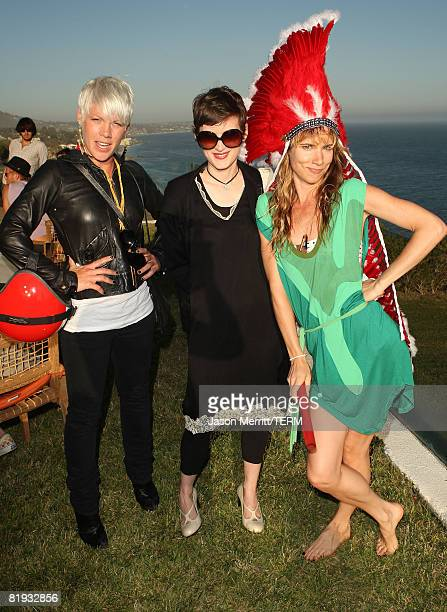MALIBU CA JULY 01 Singer Pink actress Winona Ryder and actress/singer Juliette Lewis pose during Juliette Lewis' Birthday Celebration at The Project...