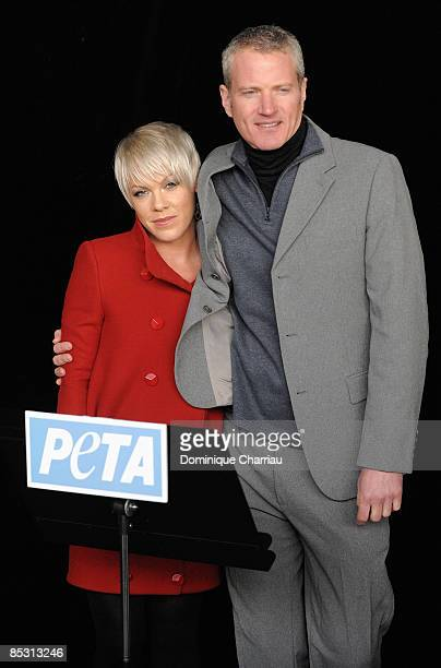 Singer Pink and and senior vice president of PETA Dan Mathews during the press conference after the Stella McCartney ReadytoWear A/W 2009 fashion...