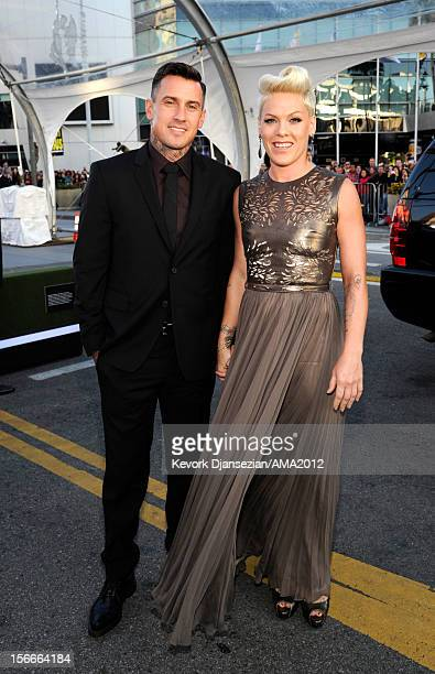 Singer Pink and athlete Carey Hart attend the 40th American Music Awards held at Nokia Theatre LA Live on November 18 2012 in Los Angeles California