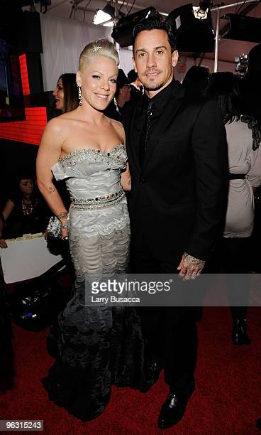 Singer Pink and Carey Hart arrives at the 52nd Annual GRAMMY Awards held at Staples Center on January 31, 2010 in Los Angeles, California.