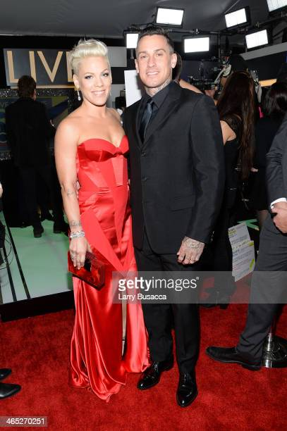 Singer Pink and Carey Hart attend the 56th GRAMMY Awards at Staples Center on January 26, 2014 in Los Angeles, California.