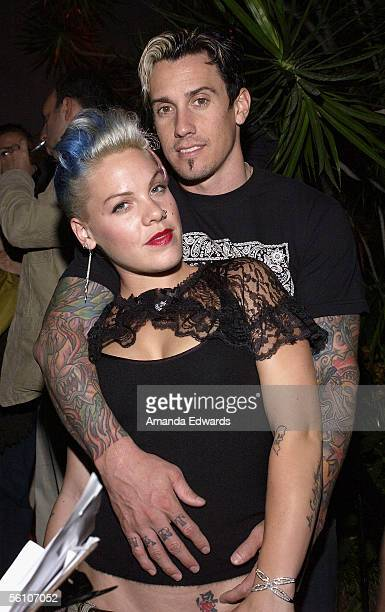 Singer Pink and her fiance Corey Hart attend the Lions Gate International AFM Cocktail Party at Michael's on November 6 2005 in Santa Monica...