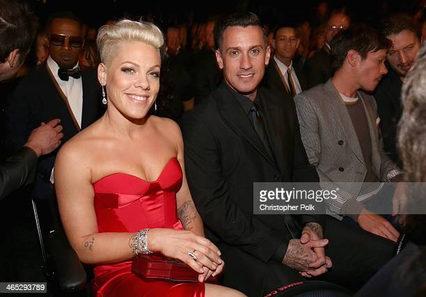 Singer Pink and motorcycle racer Carey Hart attend the 56th GRAMMY Awards at Staples Center on January 26 2014 in Los Angeles California