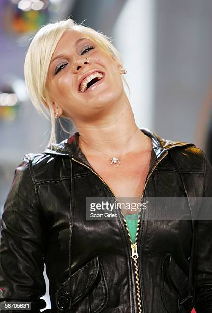 Singer Pink appears onstage during MTV's Total Request Live at the MTV Times Square Studios on January 30 2006 in New York City