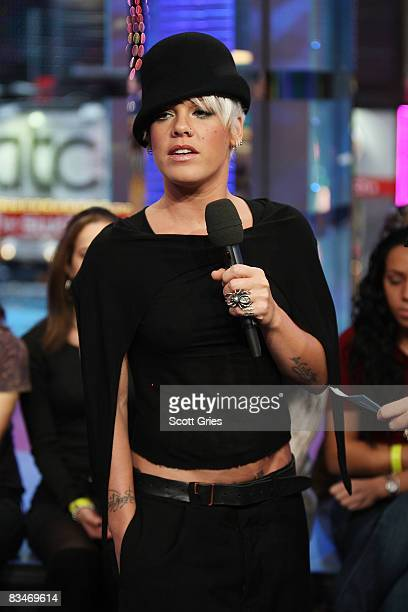 Singer Pink appears onstage during MTV's Total Request Live at the MTV Times Square Studios October 28 2008 in New York City
