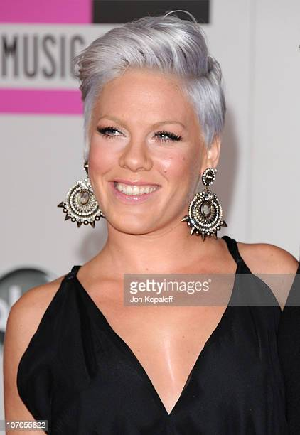 Singer Pink arrives at the 2010 American Music Awards held at Nokia Theatre LA Live on November 21 2010 in Los Angeles California