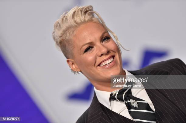 Singer Pink arrives at the 2017 MTV Video Music Awards at The Forum on August 27 2017 in Inglewood California