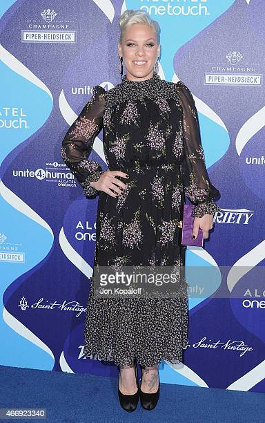 Singer Pink arrives at the 2nd Annual Unite4humanity Event at The Beverly Hilton Hotel on February 19 2015 in Beverly Hills California