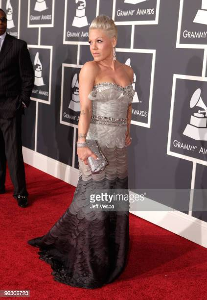 Singer Pink arrives at the 52nd Annual GRAMMY Awards held at Staples Center on January 31 2010 in Los Angeles California