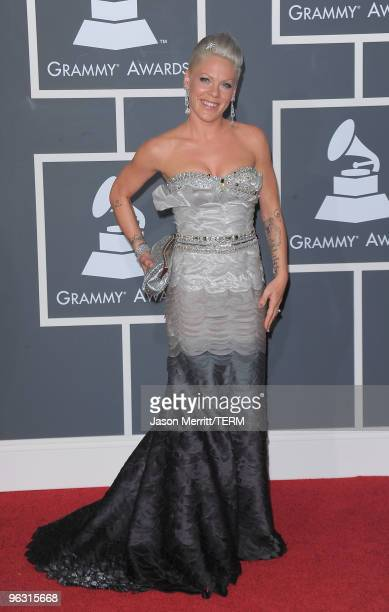 Singer Pink arrives at the 52nd Annual GRAMMY Awards held at Staples Center on January 31, 2010 in Los Angeles, California.