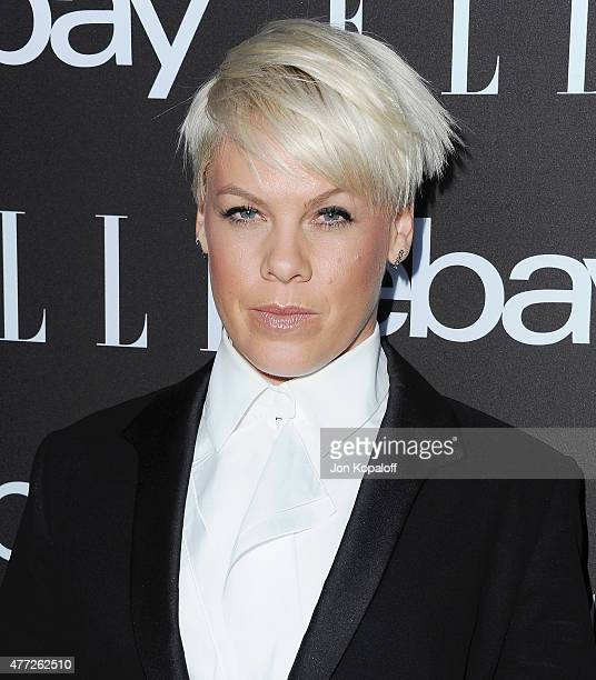 Singer Pink arrives at the 6th Annual ELLE Women In Music Celebration Presented by eBay at Boulevard3 on May 20 2015 in Hollywood California