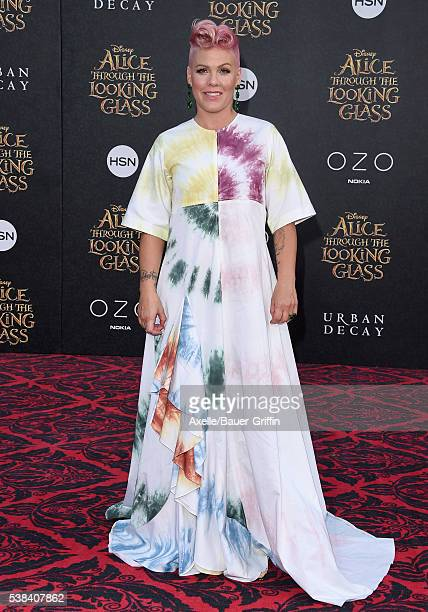 Singer Pink arrives at the premiere of Disney's 'Alice Through The Looking Glass' at the El Capitan Theatre on May 23 2016 in Hollywood California