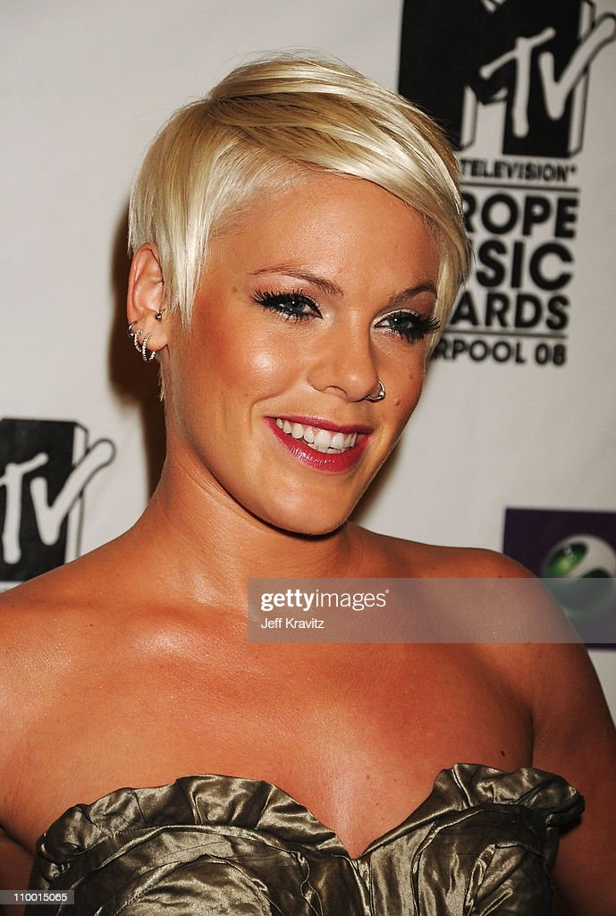 Singer Pink arrives for the 2008 MTV Europe Music Awards held at at the Echo Arena on November 6, 2008 in Liverpool, England.