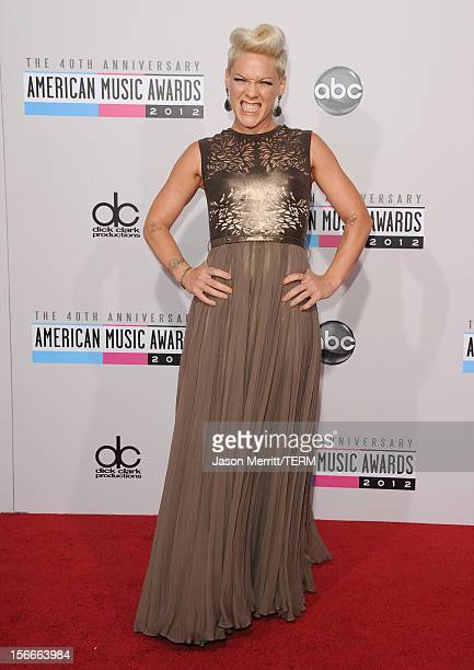 Singer Pink attends the 40th American Music Awards held at Nokia Theatre LA Live on November 18 2012 in Los Angeles California