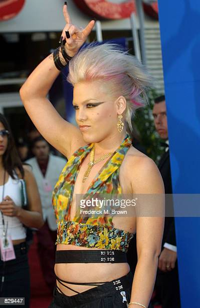 Singer Pink attends the 44th Annual Grammy Awards at Staples Center February 27 2002 in Los Angeles CA